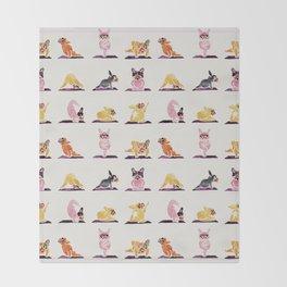 French Bulldog Yoga Watercolor Throw Blanket