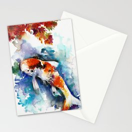 Koi Fish in the Pond - Zen Watercolor Stationery Cards