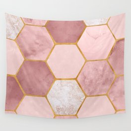 Pink and Gold Hexagon Print Wall Tapestry