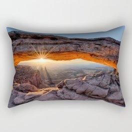Mesa Arch Sunburst Canyonlands National Park.  by Lena Owens Rectangular Pillow