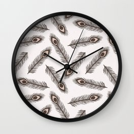 Rustic Peacock Feather Lino Cut Texture Sketchy Wall Clock