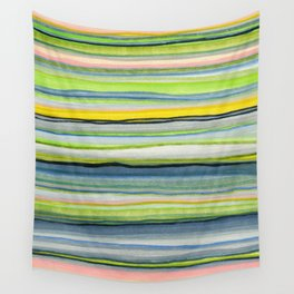 Blue Grey Green Pink Stripes Wall Tapestry