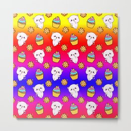 Cute happy funny Kawaii pink baby kittens, yummy colorful cupcakes and chocolate chip cookies cartoon bright red yellow blue rainbow pattern design. Nursery decor ideas.  Metal Print