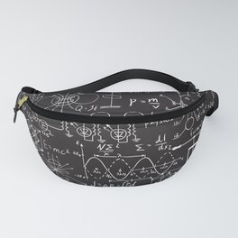 Physical formulas graphics and scientific calculations on chalkboard pattern Fanny Pack