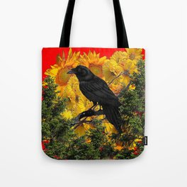 CROW & SUNFLOWERS WILDERNESS RED ART Tote Bag