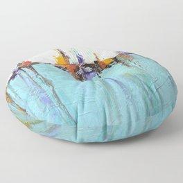 """Abstract White and Blue Painting – Textured Art – """"Sailing""""  Floor Pillow"""