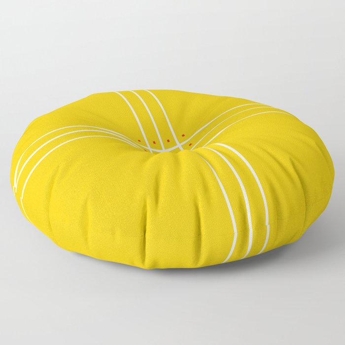 Fine Lined Cross on Yellow Floor Pillow