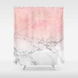 Modern blush pink watercolor ombre white marble Shower Curtain