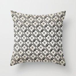 Moroccan Boho Black & White Pattern Throw Pillow
