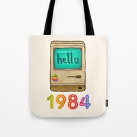 1984 Tote Bags featuring 1984 by Laura Wood