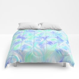 Preppy Blue Watercolor Abstract Ripples Comforters