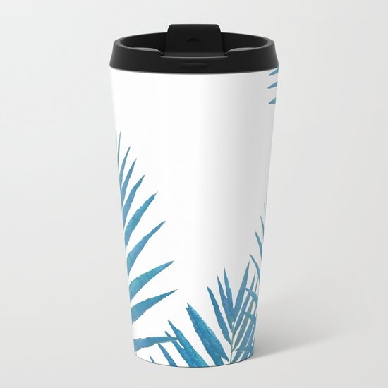 Fern Blue Metal Travel Mug