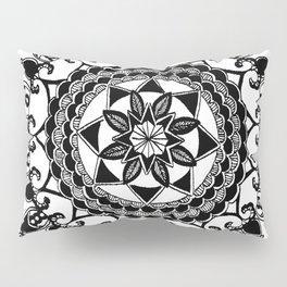 Black and White Circular Hand-Drawn Mandala Pillow Sham