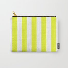Geometric Design Candy Striped Pattern Yellow White Carry-All Pouch