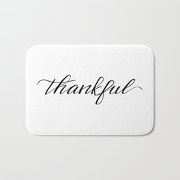 Thankful Calligraphy Bath Mat