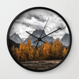 Teton Fall - Autumn Colors and Grand Tetons in Black and White Wall Clock