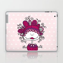 Doodle Doll with Curls on Pink Background Laptop & iPad Skin