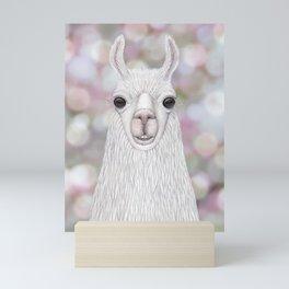 Llama farm animal portrait Mini Art Print
