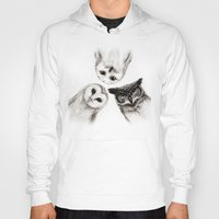 terry fan Hoodies featuring The Owl's 3 by Isaiah K. Stephens