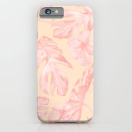 Tropical Dream Palm Leaves Pink and Coral Peach iPhone Case