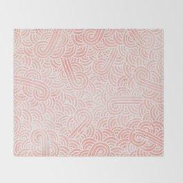 Rose quartz and white swirls doodles Throw Blanket