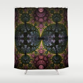 Fractal Abstract with orbs and tribal patterns Shower Curtain