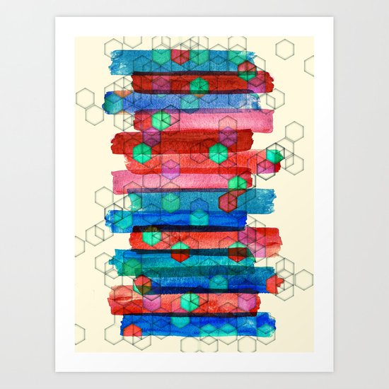 Shape Shifting & Shadow Boxing - watercolor stripes & hexagon pattern Art Print