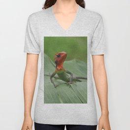 Gecko iguana Red Head Unisex V-Neck