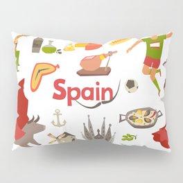 Spain traditional symbols set. Travel tourist element.Traditional spainish corrida, flamenco, guitar Pillow Sham