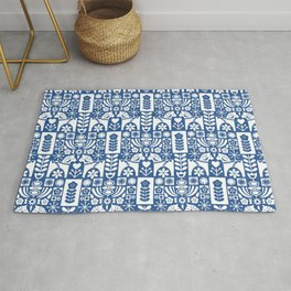 Swedish Folk Art - Blue Rug