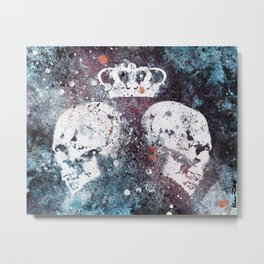 Black Queendom (spray paint graffiti art, crown with skulls) Metal Print