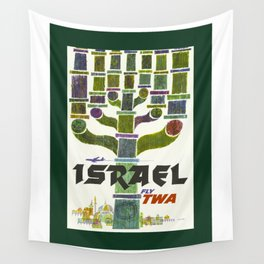 Vintage Israel Travel Poster Wall Tapestry
