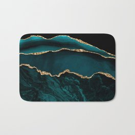 Teal Blue Emerald Marble Landscapes Bath Mat