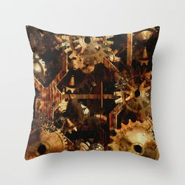 Steampunk Watch Gears and Cogs Throw Pillow