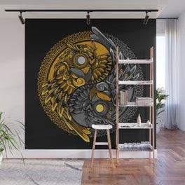 yin yang owl doodle ornament illustration Wall Mural