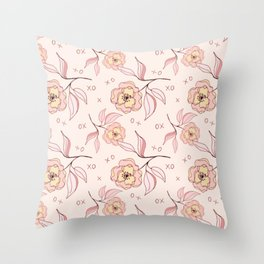 Pink Peony Kiss Floral Pattern Throw Pillow