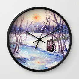 Tardis At The River Snow Wall Clock