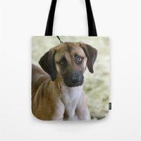 the hound Tote Bags featuring Hound Pup by IowaShots