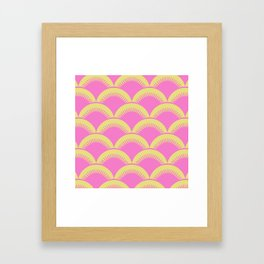 Japanese Fan Pattern Pink and Chartreuse Framed Art Print
