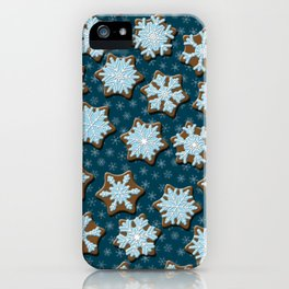 Frosted Gingerbread on Winter Night Sky iPhone Case