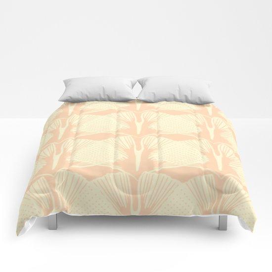 ginkgo leaf pattern in vintage pink Comforters