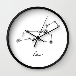 Leo Floral Zodiac  Constellation Wall Clock