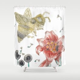 Bee Happy 1 Shower Curtain