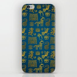 Aztec ancient animal gold symbols on teal iPhone Skin