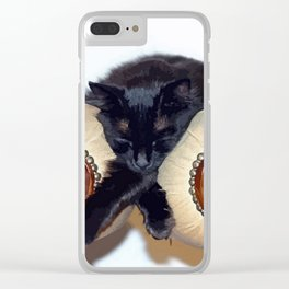 Relaxed Black Cat Sleeping Between Two Chairs  Clear iPhone Case