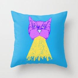 Cat Vomit - Purple Poot + Blue Background Throw Pillow