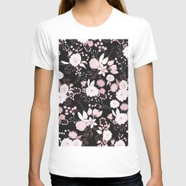Blush pink white black rustic abstract floral illustration T-shirt