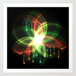 Colorful and shiny flower artwork with paint Art Print
