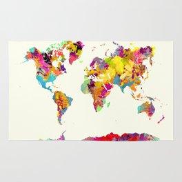 world map color art Rug