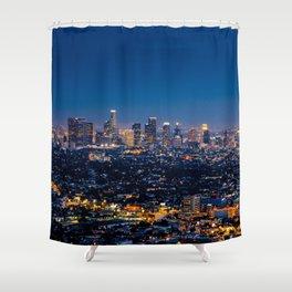 Los Angeles, California, I love LA Downtown Skyline, Golden lights, USA Sunset Blvd, Palms, Cali Map Shower Curtain